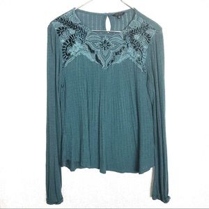 Lucky Brand Blue Embroidered Knit  Ribbed Sweater